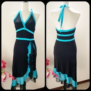 Bebe halter top dress black and turquoise